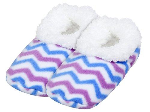 Alsino Damen Snoozies Hausschuhe plüsch über 15 MODELLE Snoozies ANTI RUTSCH ABS Kuschel Puschen Winter kuschelig weich bunt Damenhausschuhe 02/6009 lila blau; 36-37