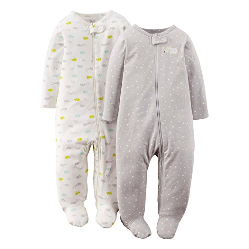 Just One You By Carters Unisex-Baby 2-Pack Footed Sleeper - Gray (6 Months)