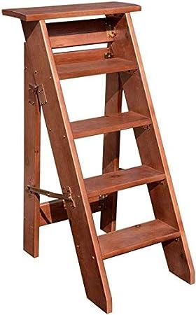 Escalera Paso Plegable Taburete de Madera 5 Paso Brown Ligero Plegable Taburete Flor Estante Presidente QIQIDEDIAN: Amazon.es: Hogar