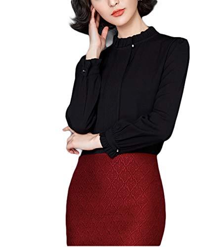 Thx Style Women's Casual Office Bow Tie Neck Long Sleeve Chiffon Blouse Shirts Tops (XL, Black) Design Sleeve Sequin semi Little Cute Bodycon Baby Elegant Spring Girls Denim wrap Velvet Shift