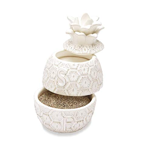 (Mud Pie Stacked Pineapple Salt and Pepper Cellar Set)