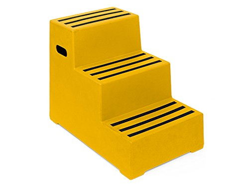 3 Tread Heavy Duty Yellow Plastic Moulded Safety Block Steps Premium Step