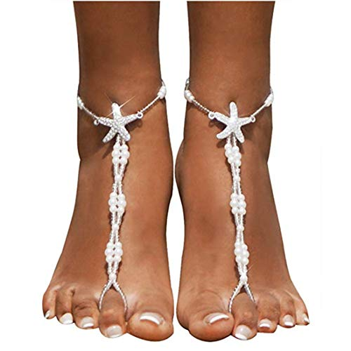 1MATCH Wedding barefoot sandals,Foot jewelry, Wedding sandals, Footless sandals, Slave anklet, Wedding Accessories,Beaded sandles