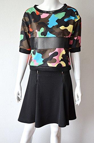 CAD09 Patineuse-Falda de algodón con 2 cierres de cremallera trasero para mujer negro