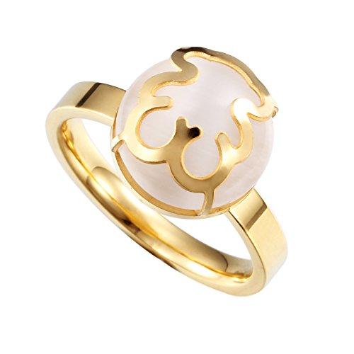 URs Women's 18K Gold Plated Stainless Steel Teddy Bear Gemstone Ring (9) ()