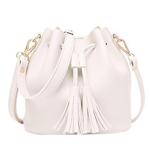 Bag Crossbody Bucket Messenger Shoulder Leather Familizo Handbag White Handbag Tassels Hx8ROR