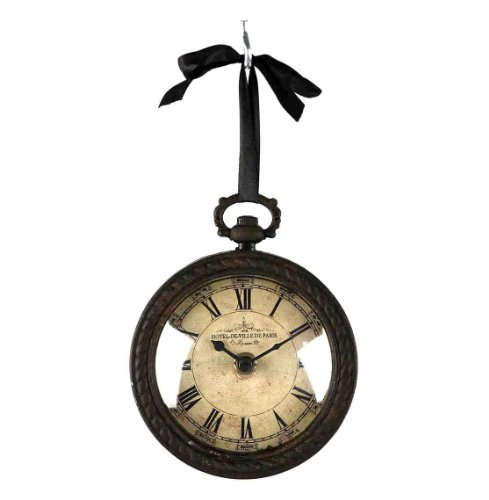 Kathy Kuo Home Pocket Watch Style Vintage French Rustic Ribbon Round Wall Clock