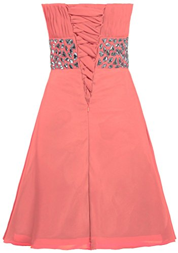 Chiffon Dress ANTS Crystal Short Women's Coral Cocktail Strapless Prom Dress HH1vYq