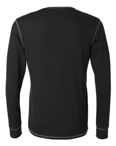 Canvas C3500 Mens Thermal Long-Sleeve Tee - Black & Grey, La