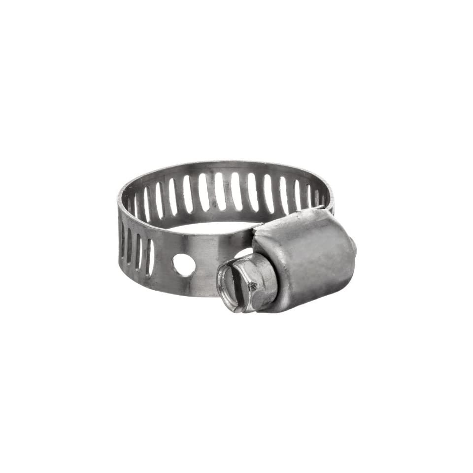 Dixon MAH6 Stainless Steel Miniature Worm Gear Hose Clamp with SAE 300 Stainless Steel Screw, 5/16 Band Width, 7/16 to 25/32 Hose OD Range (Pack of 10)