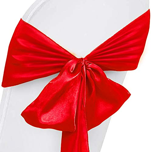 (Happybuy Satin Chair Cover Bow Sash 100 pcs Decoration Chair Cover Sash Positive red Chairs Back Tie Bands for Wedding Banquet Party Celebrations Events Decoration)