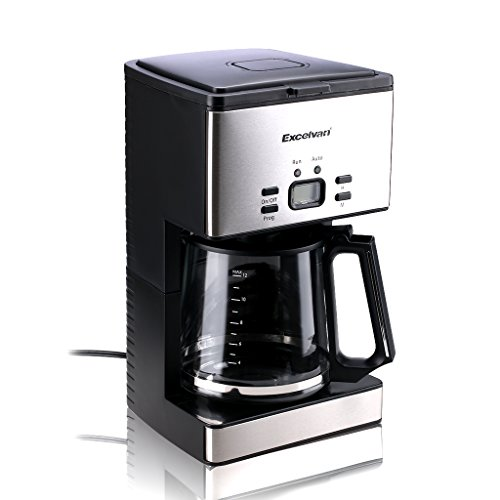Excelvan CM6626T 1000W Stainless Steel Coffee Machine Programmable Digital Coffeemaker,12 Cups