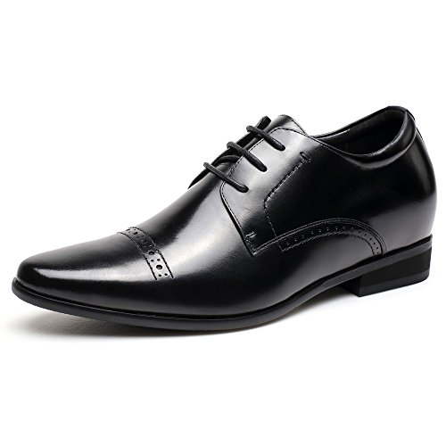CHAMARIPA Hommes Noir Smooth Leather Oxford Style Ascenseur Chaussures Business Chaussures - 7 cm plus grand - L71D11V081D