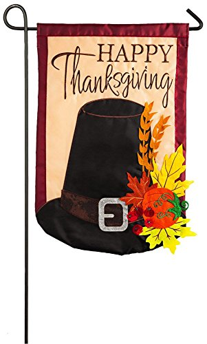 Evergreen Happy Thanksgiving Harvest Hat Applique Garden Flag, 12.5 x 18 inches