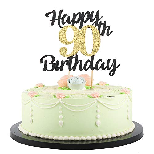 LVEUD happy birthday cake topper Black Font Golden Numbers 90th birthday happy Cake Topper -Birthday Party Decorations (90th)
