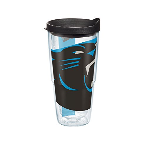 Tervis 1099372 NFL Carolina Panthers Colossal Tumbler with Wrap and Black Lid 24oz, Clear