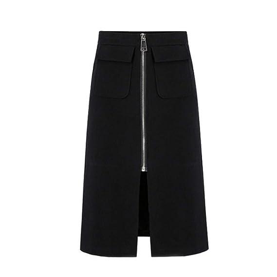 Overdose Faldas De Mujer Falda Negra Damas De Color Sólido para ...