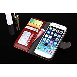 QHY Solid Color/Special Design Full Body Cases/Wallet Case/PU Leather for iPhone 6 (Assorted Colors) , Blue