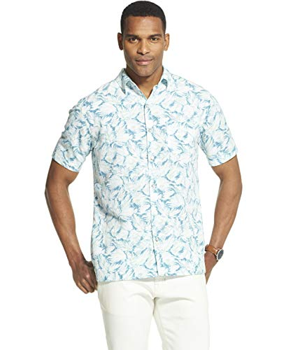 Van Heusen Men's Big and Tall Air Tropical Short Sleeve Button Down Poly Rayon Shirt, bright white, X-Large Tall