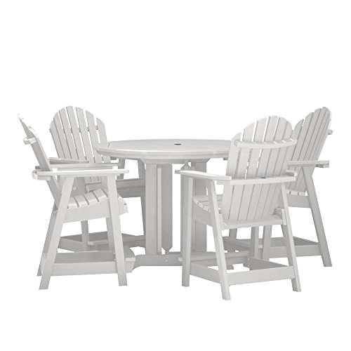 Highwood 5 Piece Hamilton Round Counter Height Dining Set, White - Counter Height Dining Furniture