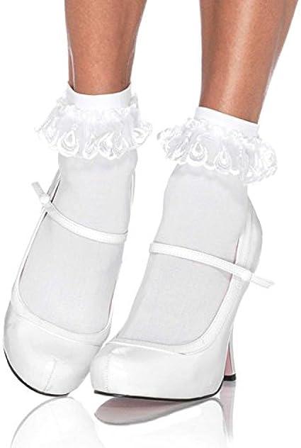 Lace Trim Ankle SocksRuffledChristmas GiftPolka DotCottonHandmadeCasual SocksFree SizeIn 4 colors: White /& Navy Blue Grey Black