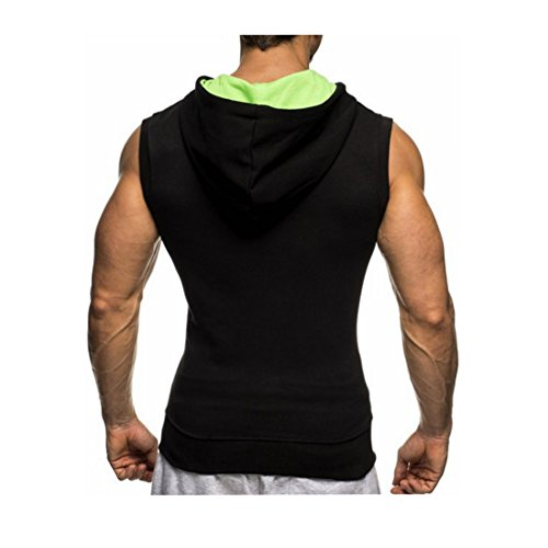 Huiyuzhi Mens Workout Fitness Gym Tank Top Sleeveless Hoodies with Pocket (L, B Black Green)