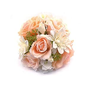 "Peach Cream Rose Dahlia Hydrangea Bundle Artificial Silk Flowers 10"" Bouquet 8217PH 9"
