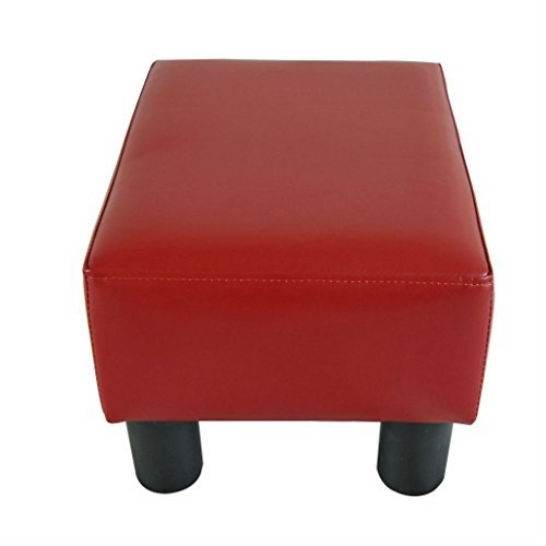 Modern Faux Leather Ottoman Footrest Stool Foot Rest Small Chair Seat Sofa Couch (wine red) by Unknown