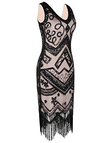 kayamiya Damen Flapper Kleider 1920er Jahre V-Ausschnitt Inspiriert  Paillette Fransen Großes Gatsby Kleid Black ... 398bb1e774