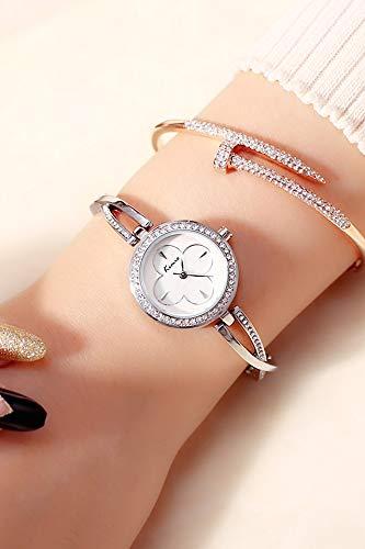 Small dial Waterproof Fashion Chain Diamond Watch (Silver White