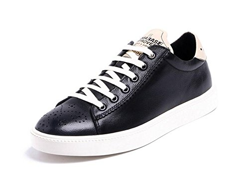 Men Oxfords Lace-Up Flats Shoes Sports Shoes Leather Trend Leather Summer Breathable Men's Shoes ( Color : Black , Size : 44 ) by GLSHI