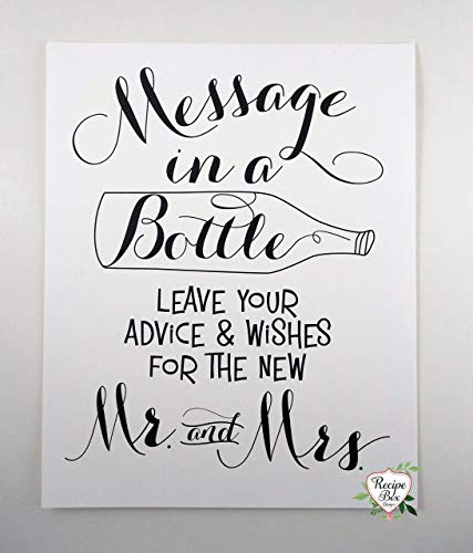 (Message In A Bottle 8x10 Sign Only. Advice and Wish Sign Nautical Wedding Sign - No Frame, Non)
