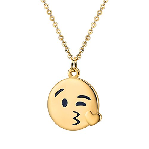 (PROSTEEL Blowing a Kiss Emoji Necklace Kissing Face Charm Round Pendant Necklace Kissing Jewelry Women Bridesmaid Gift)
