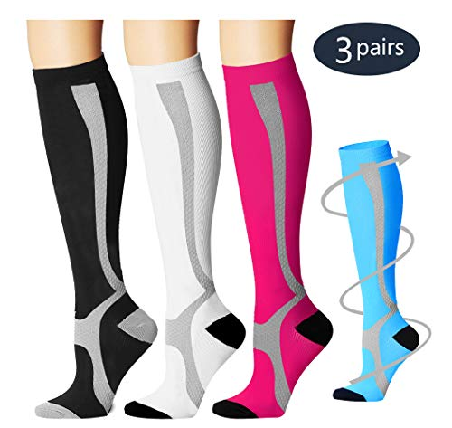 Laite Hebe Compression Socks,(3 Pairs) Compression Sock Women & Men - Best Running, Athletic Sports, Crossfit, Flight Travel(Multti-colors12-L/XL) by Laite Hebe