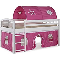 Alaterre AJLA10WH Dylan White Junior Loft Bed with Pink/White Tent and Playhouse