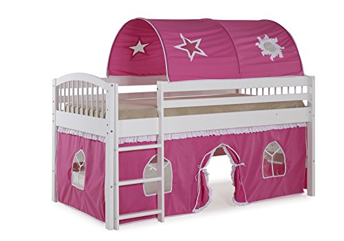 - Alaterre AJLA10WH Dylan White Junior Loft Bed with Pink/White Tent and Playhouse