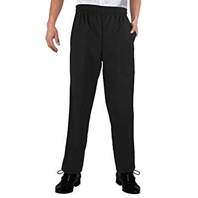 SANSHENG Chef Pants Works Unisex Black Classic Chef Pant Back Pocket Elastic Waist Drawstring