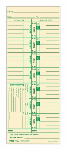 "Tops Time Cards , Weekly, 1-Sided, Numbered Days, 3-1/2"" x 9"", Manila, Green Print, 500-Count (1252)"