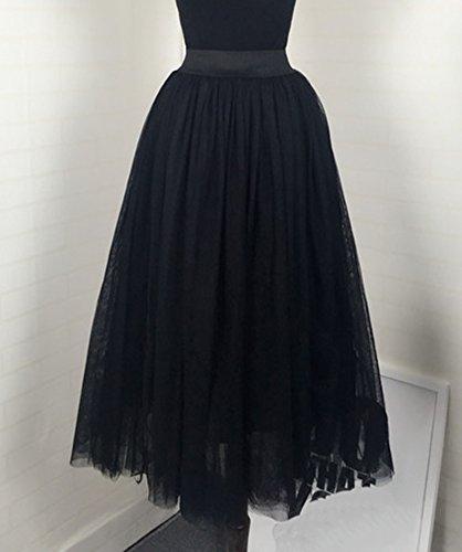 Falda Mujer Largo Cintura Elástica Tul De Noche Fiesta Prom Falda Negro