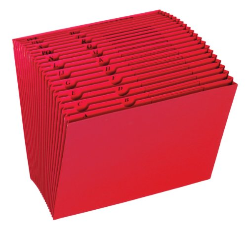 Globe-Weis/Pendaflex Colored Expansion File, Open Top, 21 Pockets, A to Z Tabs, Letter Size, Red (17A-RED)