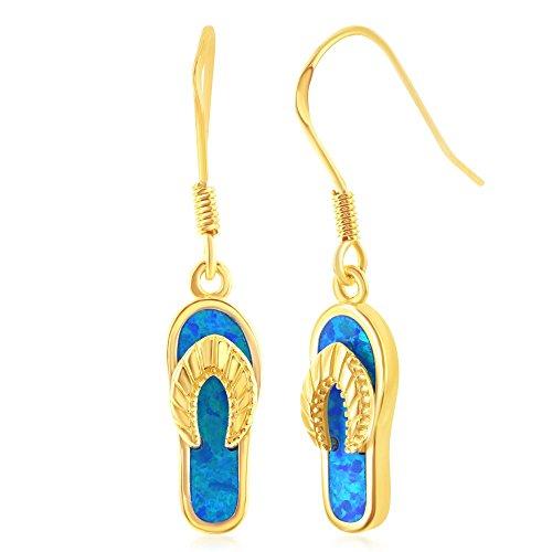 Sterling Silver Gold Tone Created Blue Opal Flip-Flop Earrings