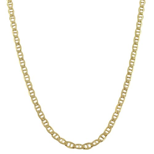 14k Yellow Gold Filled Solid 3.3mm Mariner Link Chain (20 (Gold Mariner Link)