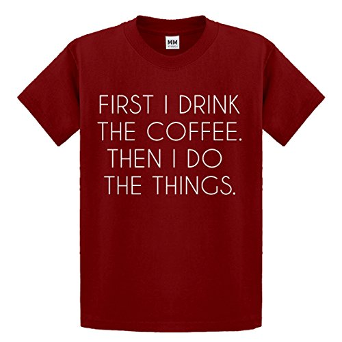 Indica Plateau Youth First I Drink The Coffee Medium Red Kids T-Shirt