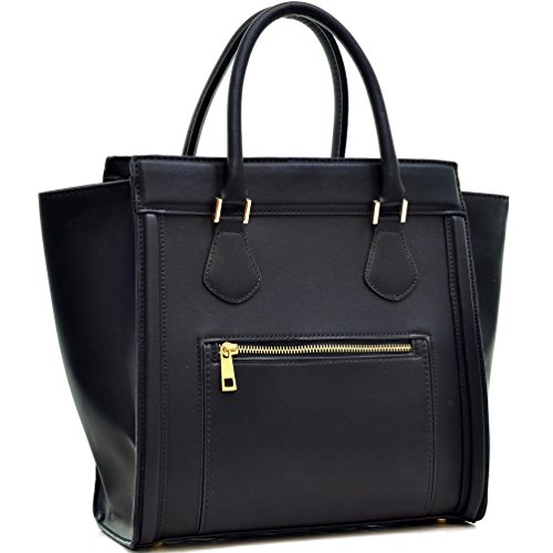 Black Satchel Handbag - 6