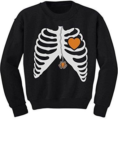 TeeStars - Skeleton Xray Rib Cage Spider Halloween Costume Youth Kids Sweatshirt X-Large Black (Xray Skeleton Kids Costume)