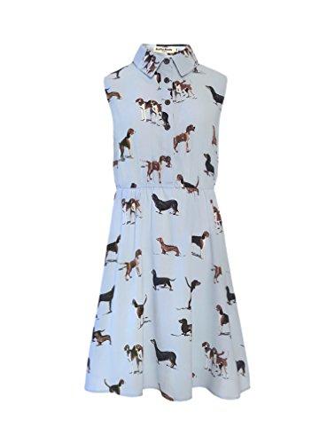 LaVieLente Customized Sleeveless Shirt Sloth Dress Fox Dress Dog Dress Stretchable Waist Design (Blue, XXX-Large/XXXX-Large)]()