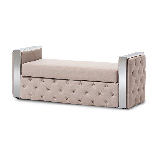 Ottoman Fabric Linen (Baxton Studio Josue Stainless Steel Beige Linen Fabric Button-Tufted Storage Bed End Bench)