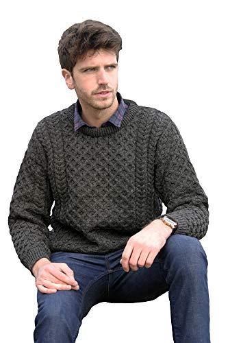 West End Knitwear Merino Wool Unisex Crew Neck Sweater (Charcoal, X-Large) ()