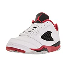 Nike Jordan Kids Jordan 5 Retro Low (PS) White/Fire Red/Black Basketball Shoe 3 Kids US