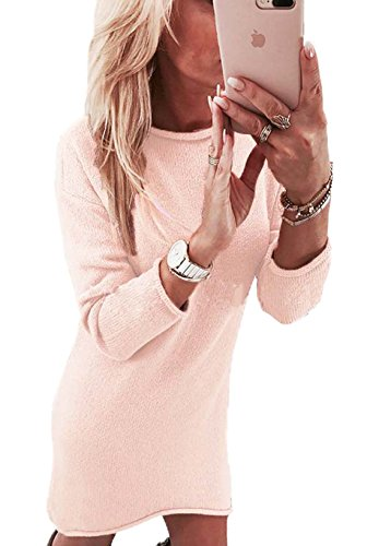 Automne Longues Robe Manches Taille Longue Col Tops Sexy Pulls Chandail T Rond Robes Grande Mini Hiver Rose shirt Femme Casual AAr0qp1